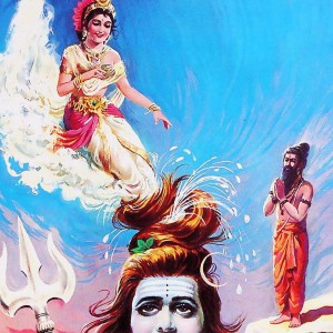 Ganga flowing to earth through the matted hair of Lord Shiva