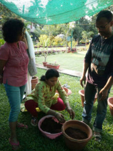 Participants preparing their pots